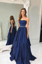 Strapless Navy Blue Long Satin Prom Dress with Beaded Belt