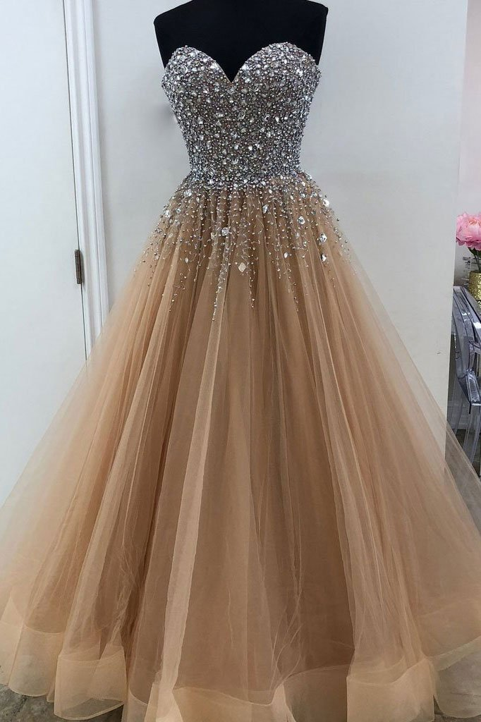 Strapless A-line Long Tulle Prom Dress Crystals Beaded
