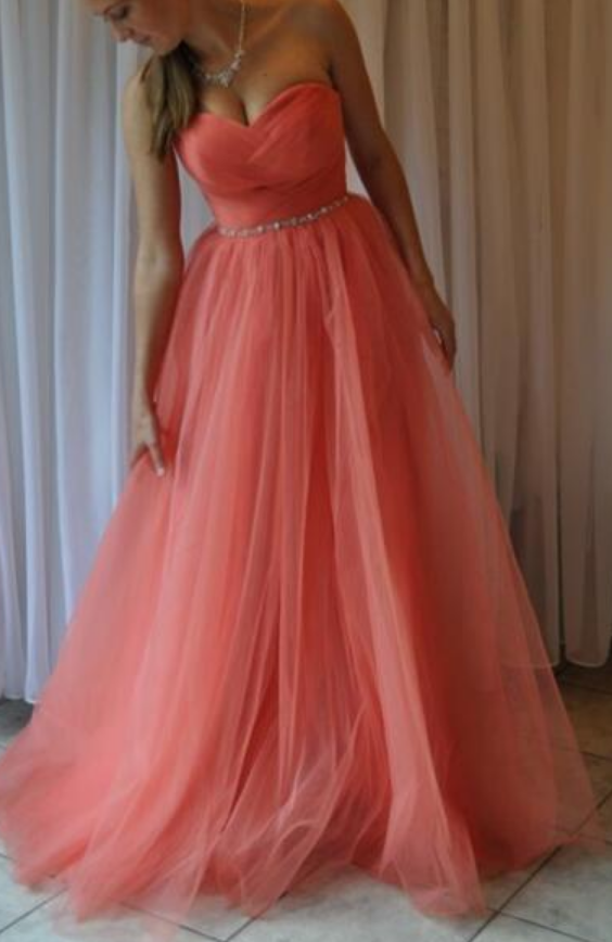 Strapless Long A-line Tulle Prom Dress Floor Length Pleated Dress