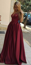 Deep V Neck Long Satin Prom Dress Floor Length Women Dress