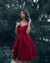 Mid-calf Off the Shoulder A-line Red Satin Prom Dress