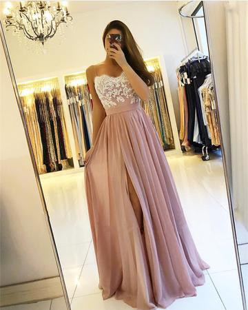 Strapless Long Chiffon Prom Dress Lace Appliques Slit
