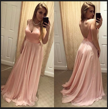 Open Back Long Pink Chiffon Prom Dress Spaghetti Straps