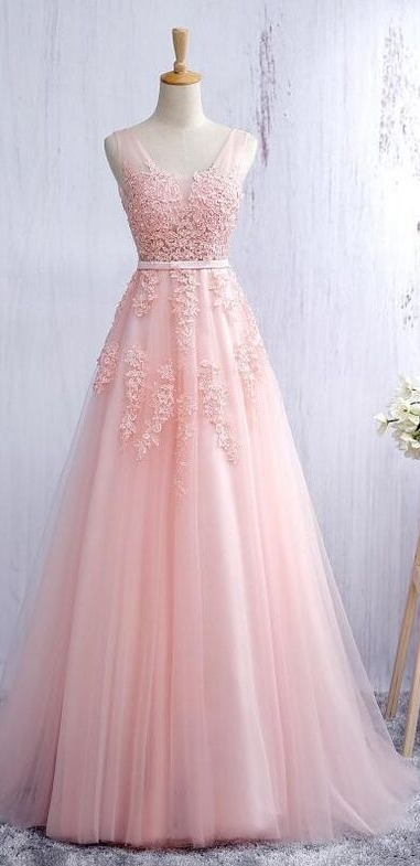 V Neck A-line Tulle Pink Prom Dress with Lace Appliques