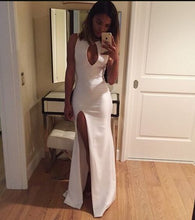 Slit Long White  Satin Prom Dress Halter Neck Women Dress