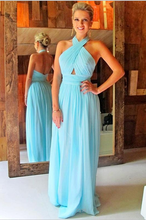 Open Back Long Blue Chiffon Prom Dress Halter Neck Pleated