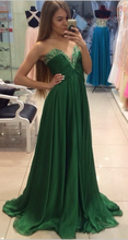 Empire Strapless Long Green Chiffon Prom Dress with Beads