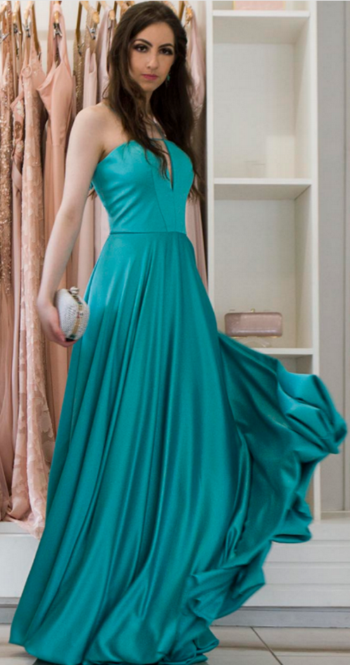 Strapless A-line Long Satin Prom Dress Floor Length Women Evening Dress