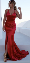 Spaghetti Straps Mermaid Long Red Prom Dress Slit