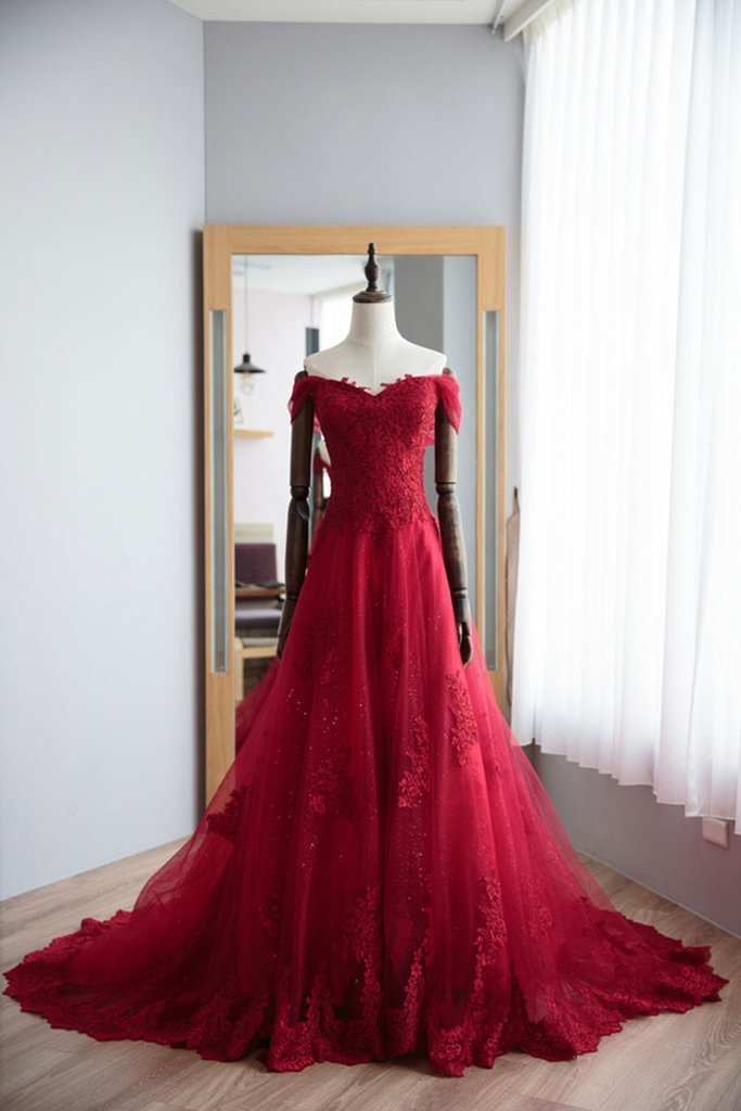 Off the Shoulder Long A-line Tulle Red Prom Dress with lace Appliques