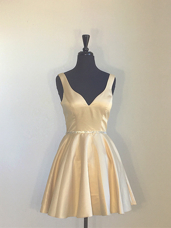 V Neck Golden Short Golden Satin Women Homecoming Dress