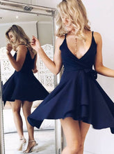 Navy Blue Short Satin Homecoming Dress Spaghetti Straps Women Party Dress 2019