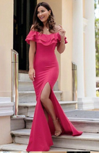 Off the Shoulder Mermaid Long Satin Prom Dress Slit