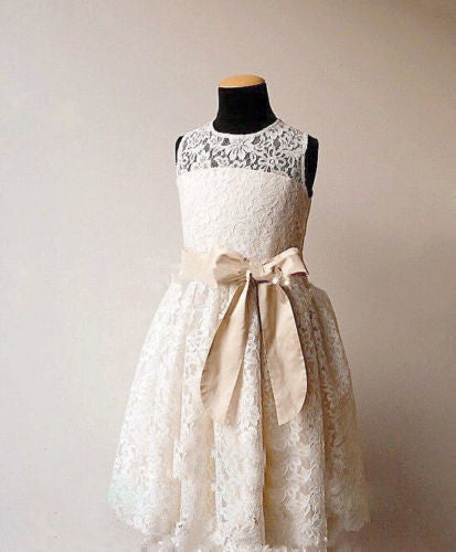 Scoop Neck Beige Lace Flower Girl Dress with Bow Tie