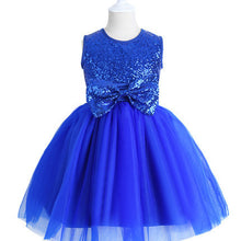 Royal Blue Sequin Tulle Flower Girl Dress with bow Tie