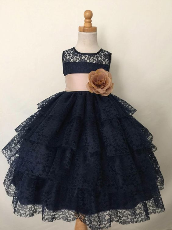 Charming Black 4 Layer Lace Flower Girl Dress with Handmade Flower