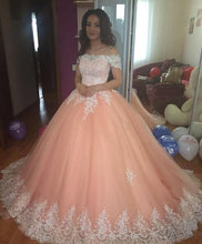 Off the Shoulder A-line Tulle Ball Gown Lace Appliques Floor Length Women Dress