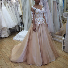 Long Sleeves A-line Tulle Prom Dress Lace Appliques Women Evening Dress