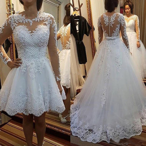 Princess Vestido De Noiva Lace Appliques Pearls with Detachable Train Bridal Gowns 2 in 1 Ball Gown Wedding Dresses 2020 New