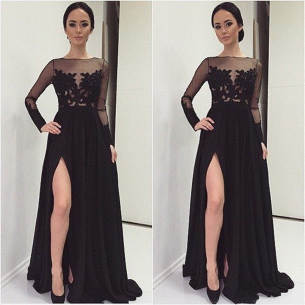 Long Sleeves Black Chiffon Prom Dress Lace Appliques High Slit