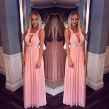 Pink Long Floor Length Beaded Chiffon Prom Dress
