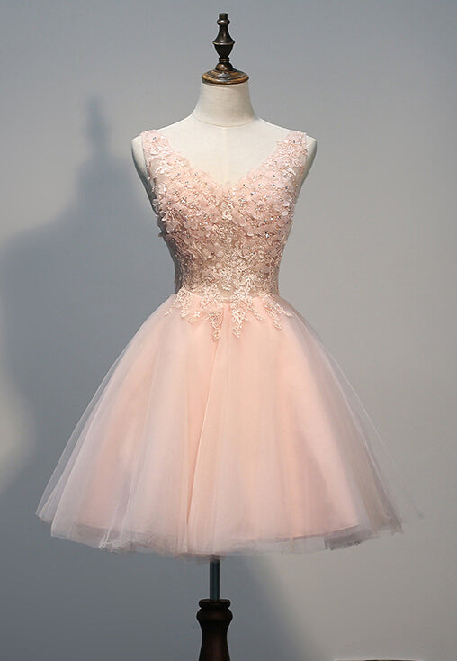 Above Knee Light Pink Tulle Homecoming Dress Lace Appliques Beaded