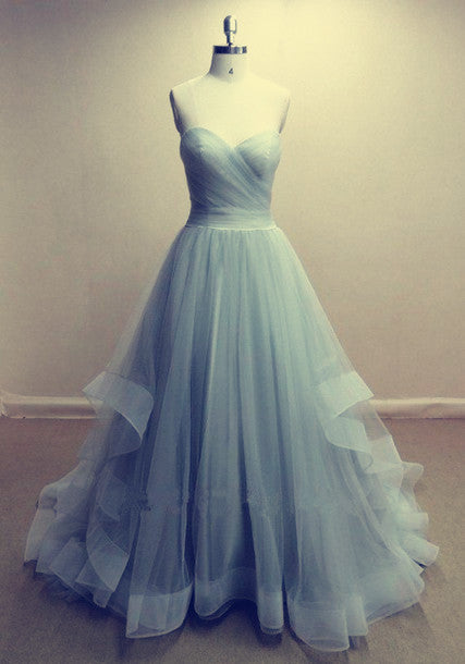 Strapless A-line Long Tulle Prom Dress Pleated Floor Length