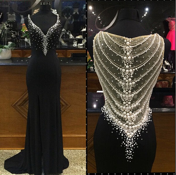 Sheath Long Black Chiffon Prom Dress with Crystals and Pearls