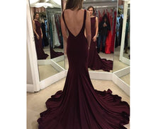 Open Back Mermaid Long Chiffon Prom Dress Scoop neckline