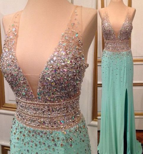 Deep V Neck Long Chiffon Crystals Prom Dress Side Slit Style