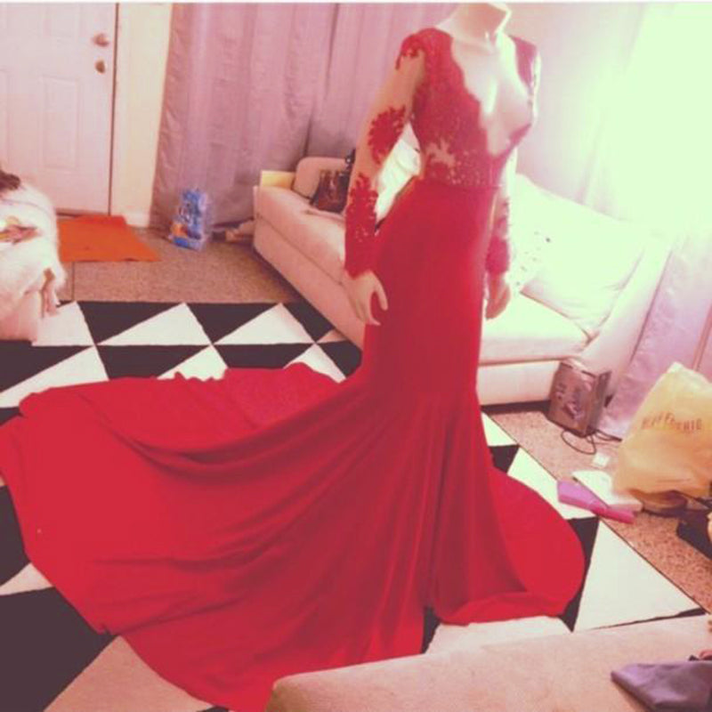 Long Sleeves Mermaid Red Satin prom Dress Lace Appliques Big tail