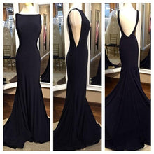 Open Back Mermaid Black Chiffon Evening Dress Scoop Neck