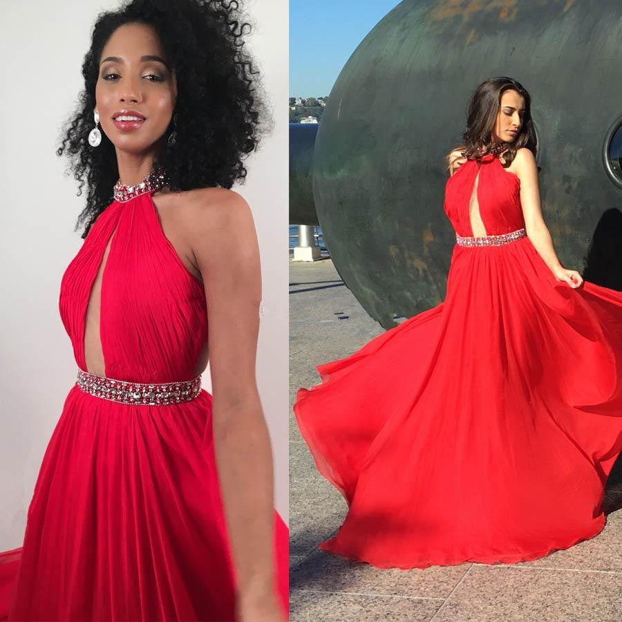 Halter Neck Long Red Chiffon Prom Dress with Pleats and Beads