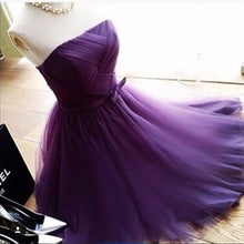 Strapless Above Knee Mini Purple Tulle Homecoming Dress