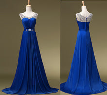 Scoop Neck Royal Blue Long Beaded Chiffon Prom Dress