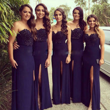 Navy Blue Sheath Chiffon Prom Dress Strapless Lace Appliques
