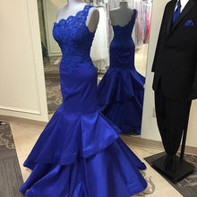 Mermaid Royal Blue Satin Prom Dress One Shoulder Lace Appliques