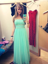 Strapless A-line Long Tulle Prom Dress Beaded Pleated