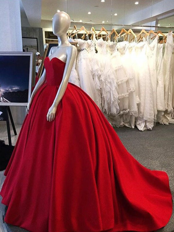 Strapless Gorgeous ball Gown Red Satin Prom Dress