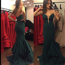 Sexy Mermaid Satin Prom Dress Strapless Dark Green Women Dress