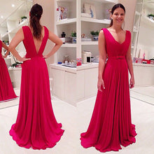 Open back Long A-line Red Chiffon Prom Dress with Pleated