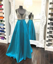 Deep V Neck A-line Shining Crystals Long Satin Prom Dress