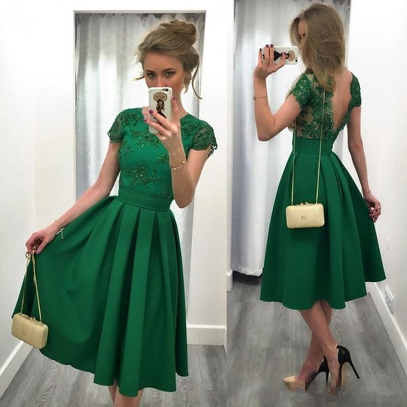 Mid-calf Green Satin Prom Dress Strapless