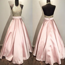 Open Back Long Pink Satin Prom Dress Halter Neck Beaded