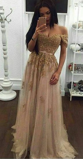 Off the Shoulder Long Tulle A-line Prom Dress Lace Appliques Beads
