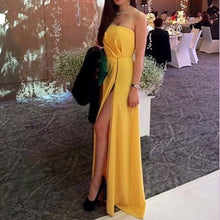 High Slit Strapless Long Yellow Satin Prom Dress