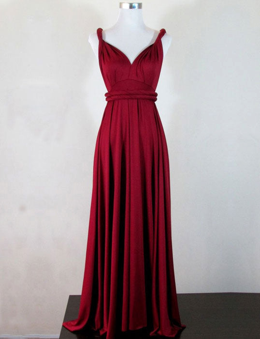 Spaghetti Straps A-line Long Red Chiffon Prom Dress Pleated Floor Length