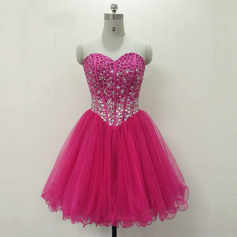 Strapless A-line Above Knee Mini Tulle Prom Dress
