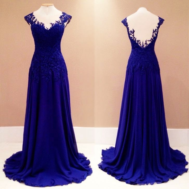Cap Sleeves Royal Blue Chiffon Prom Dress Lace Appliques