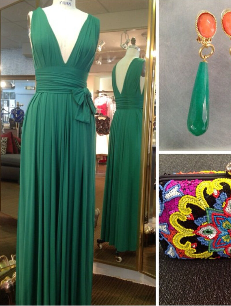 Deep V Neck Long Green Chiffon Prom Dress Pleated Open back